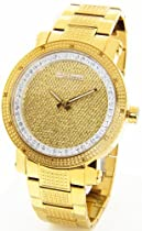 JOJINO Real Diamond Watch by Joe Rodeo Watch Mens Gold Tone Case Metal Band Gold Face MJ-8018