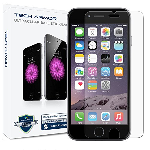 Tech Armor Clear Glass Screen Protector for iPhone 6 Plus/ 6