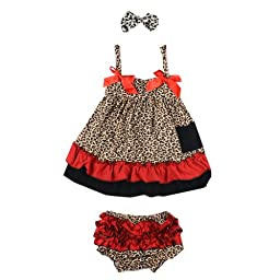 ANDI ROSE Baby Toddlers Cotton Cute Hairband+ Dress+ Underpants Outfit (L Size for 24-36 Month Infant, Leopard)
