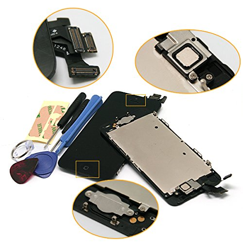 For Iphone 5 5G Black Full Set With Spare Parts Lcd Screen Replacement Digitizer With Home Button, Bracket, Flex, Sensor, Front Camera, Frame Housing Assembly Display Touch Panel + Free Repair Tool Kits [Ships From Usa]