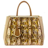 Fendi 2Jours Printed Snake and Canvas Tweed Tote thumbnail