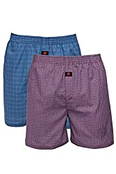 ONN Men's Assorted Color NC452 Cotton Boxer Shorts pack of 2 (X-Large)