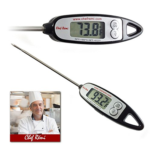 Chef Remi Digital Cooking Thermometer | Lifetime Replacement Warranty | Instant Read | Best for Turkey, Meat, Oven, Oil, Kitchen, Grill, BBQ, Candy any Any Food| Rated No.1 Grill Accessories (Flat Top Grill Cookbook compare prices)