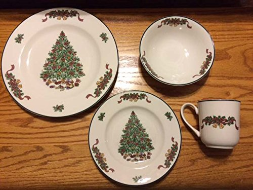 Johnson Brothers Victorian Christmas Dinner Set 16-Piece Green Christmas Tree Dinnerware Set