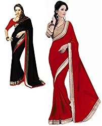 RockChin Fashions black and red georgette sari