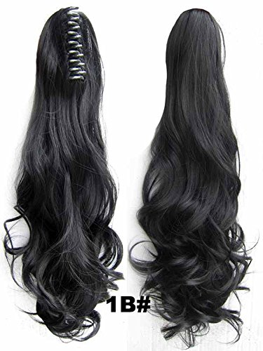 "A.H Fashion Ladies 22"" Synthetic Hairpiece Long Curly Claw Clip Ponytail Hair Extensions Natural Black #1B"