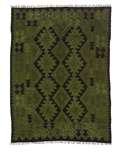 nuLOOM One-of-a-Kind Hand-Knotted Vintage Overdyed Kilim Rug, Olive, 4' 10