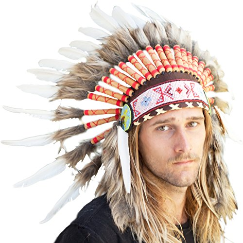 Feather Headdress- Native American Indian Inspired- Handmade by Artisan Halloween Costume for Men Women with Real Feathers - White Duck (Steam Iron For Hats compare prices)