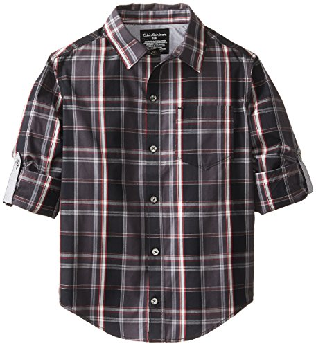 Calvin Klein Big Boys' Ck Plaid Rollup Shirt, Darkness, Large
