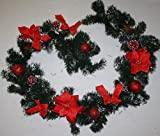 (555) CHRISTMAS Pine GARLAND Snowy Poinsettia Bauble Ribbon Red Artificial Cone
