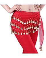 Viskey Fashion Chiffon Belly Dance Waist Chain with Golden Coins in 3-Layers,Red