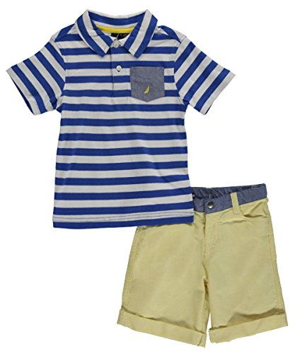 "Nautica Little Boys' Toddler ""Chambray Pocket on Stripes"" 2-Piece Outfit - blue, 4t"