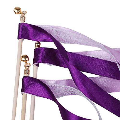 Hangnuo Pack of 10 Wedding Birthday Party Silk Lace Ribbon With Bells Streamers Wands Fairy Stick Purple (Party Streamers Pack compare prices)