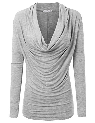 Doublju Womens Long Sleeve Cowl Neck Blouse Top (Made In USA) HGREY SMALL (Fancy Women Tops compare prices)