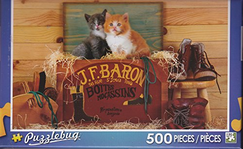 Puzzlebug 500 Piece Puzzle ~ Two Kittens Sitting in a Wooden Shoe Box - 1