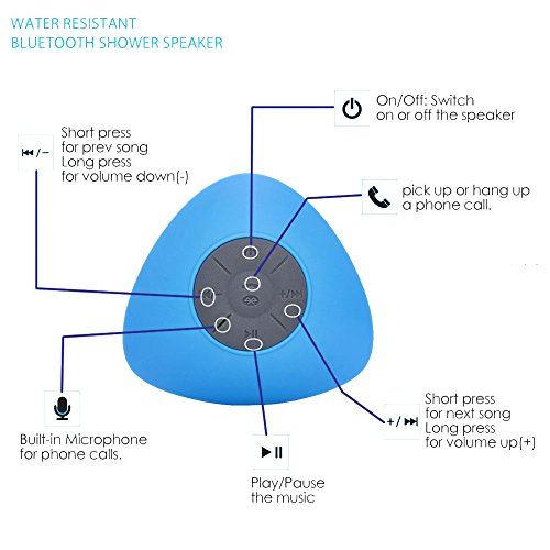 YOPO® New Mini Wireless Waterproof Shower Stereo Bluetooth Speaker W/Mic & Suction Cup Mount, For Use With Latest Smartphone Devices