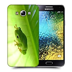 Snoogg Green Frog Printed Protective Phone Back Case Cover ForSamsung Galaxy E5
