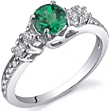 Revoni Enchanting 0.50 Carats Emerald Ring in Sterling Silver Rhodium Finish