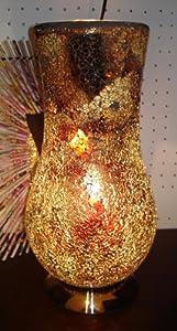 Stylish Mosaic Glass Vase Lamp - Bronze