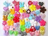 usausaのお店 福袋 可愛いふわふわアップリケ・モチーフ 50個セット(可愛いうさぎ、犬、花、バッグ、ハート) (B099)