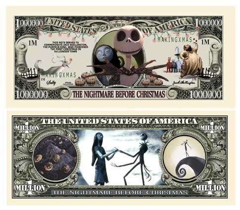 (25) Nightmare Before Christmas Million Dollar Bill - 1
