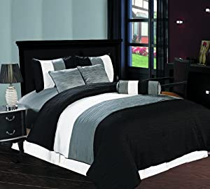 Amber 7 piece Jacquard Comforter Set Black, Silver, Cream Metallic Color Fused Pleating Stripes Bed Cover Full Size Bedding