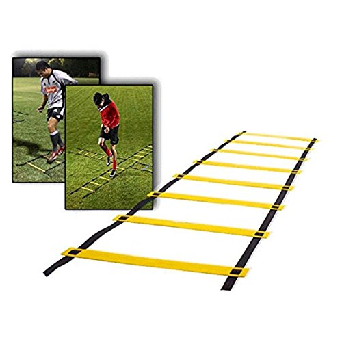 CAMTOA 9-rung Agility Ladder Speed ladder Training ladder for Soccer, Speed, Football Fitness Feet Training with Free Carry Bag Yellow