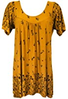 NEW LADIES WOMEN PRINT BORDER SMOCK TOP VARIOUS COLOURS TOP PLUS SIZE 12-32