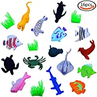 Goodlucky365 Plastic Ocean Sea Animals Fish Small Figure Toy Model Set Kids Toy Multi Color Pack Of 16