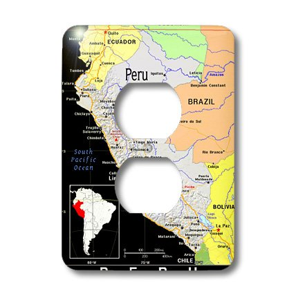 Lsp_160219_6 Florene Maps Of Countries In Exotic Format - Modern Map Of Peru In Vivid Color - Light Switch Covers - 2 Plug Outlet Cover