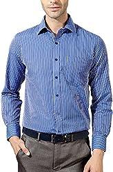 East West Men's Casual Shirt (Ew-Ts011, Blue, 44)