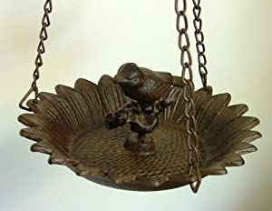 Cast Iron Sunflower and Bird Hanging Birdbath/Bird Feeder