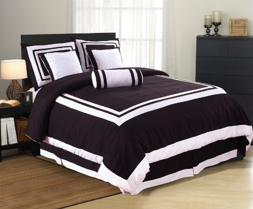 7 Pieces Caprice Black And White Hotel Comforter Bed In A