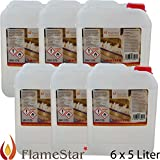 FLAMESTAR Kristall Brenngel, beruhigt flüssig, 96,6 % Premium, 5 Liter Kanister (6)