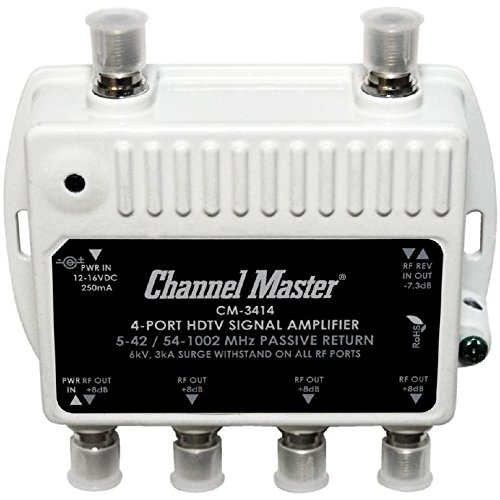 Channel Master CM3414 4-Port Distribution Amplifier for Cable and Antenna Signal