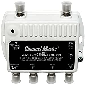 Channel Master CM-3414 4-Port Distribution Amplifier for Cable and Antenna Signal