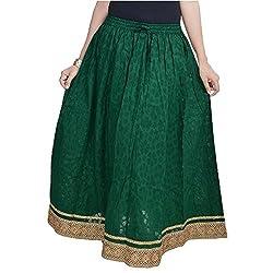 SHREEMANGALAMMART Rajasthani Ethnic Green Cotton Short Skirt(Pakistani Dark Green)(SMSKT584)