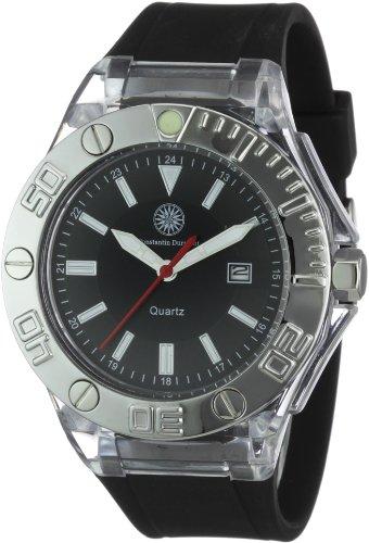 Constantin Durmont CD-BLIS-QZ-RBBK-PCSL-BK - Reloj analógico de cuarzo unisex con correa de silicona, color negro