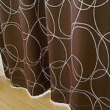 遮光 断熱 レース 厚地カーテン2枚 と ミラーレースカーテン2枚 の セット シャボンSET-ブラウン 幅100x210cm 4枚組