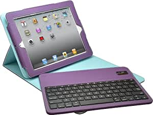 Aduro FACIO Case with Bluetooth Removable Keyboard for Apple iPad 2 / 3 & 4 Generation (Purple/Turquoise)