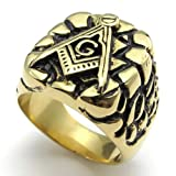 Konov Jewellery Classic Vintage Embossed Freemason Masonic Stainless Steel Band Men's Ring, Color Gold Black, Size T (with Gift Bag)