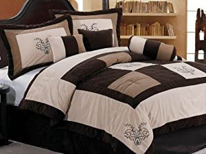 Chezmoi Collection 7-Piece Embroidery Patchwork Comforter Set, Queen, Luxury Brown/Beige/Coffee