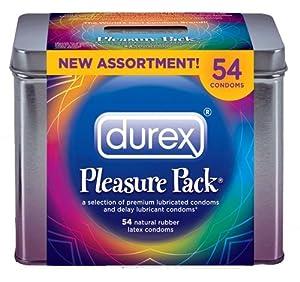 Durex Pleasure Pack Natural Rubber Premium Latex Condoms, 54 Count