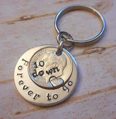 10-Down-Forever-To-Go-2006-Year-Dime-Key-Chain-Wedding-Anniversary-Gift-for-Him-or-Her