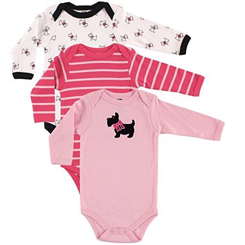 Hudson Baby Girls' 3-Pack Long-Sleeve Hanging Bodysuit, Scottie, 3-6 Months