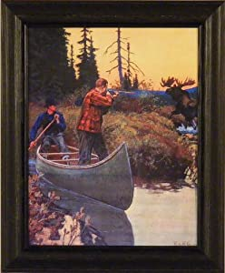 Surprised by Philip R Goodwin 14x17 Vintage Moose Hunting Art Print Wall Décor Framed Picture