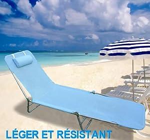 chaise longue pliante bain de soleil inclinable transat textil ne lit jardin plage bleu neuf 38. Black Bedroom Furniture Sets. Home Design Ideas