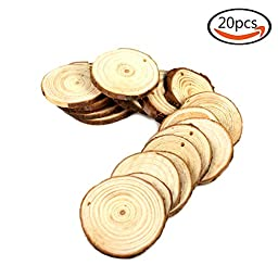 Goodlucky365 20pcs 1.6''-2'' Unfinished Predrilled Natural Wood Slices Circles with Tree Bark Log Discs for DIY Craft Woodburning Christmas Rustic Wedding Ornaments