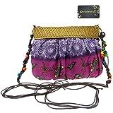 Donalworld Women Hipster Fashion Flower Cloth Small Crossbody Purse Straw Shoulder Bag Purple