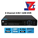 JZTEK 8ch 1080N Hybrid 4-in-1 AHD DVR (1080P NVR+1080N AHD+960H Analog +TVI) Security surveillance System Real-time Standalone P2P QR Scan Remote View NO HDD-Fits AHD/Analog/IP/TVI Camera